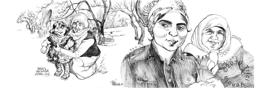 Plein air drawing of traditional Turkish women with girl