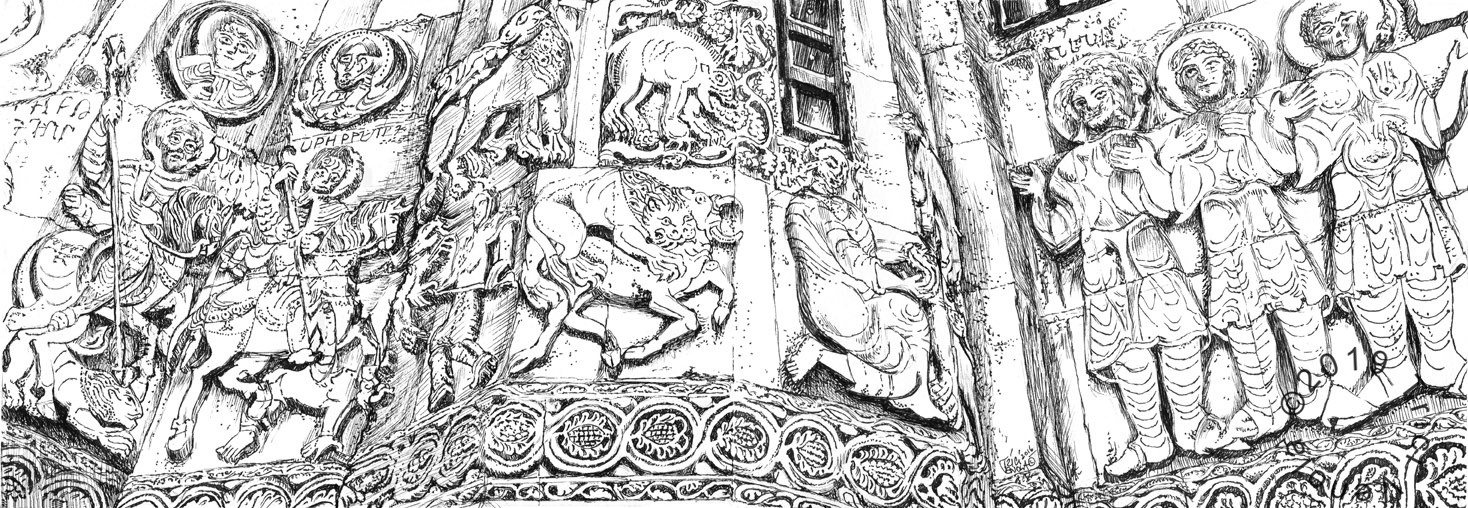Plein air drawing of ancient carving of bible stories at Aghtamar