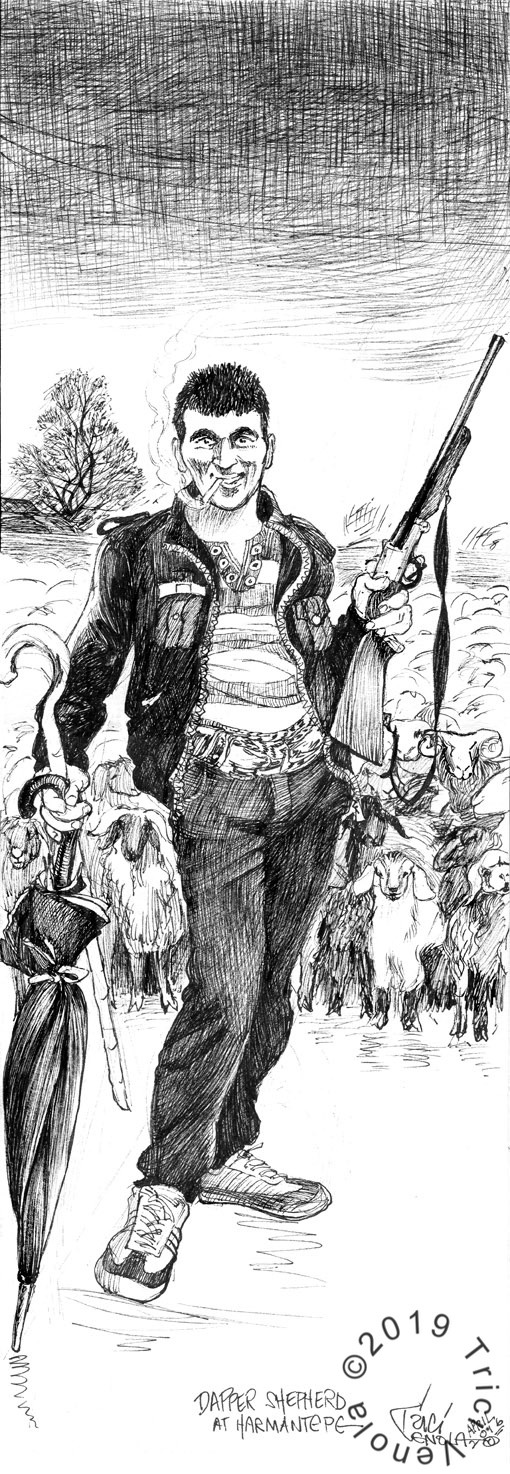 Drawing of a shepherd in an Eastern Turkish village