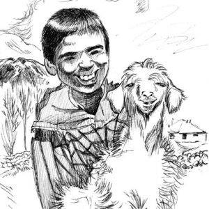 Plein air drawing of a shepherd boy holding a sheep