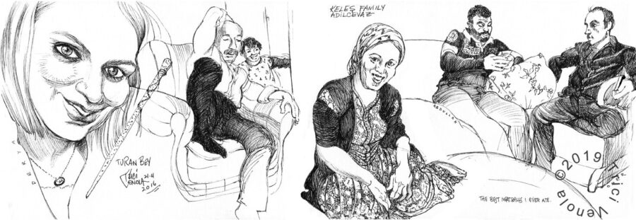 Plein air drawing of traditional Turkish family