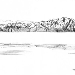 Plein air drawing of Lake Van