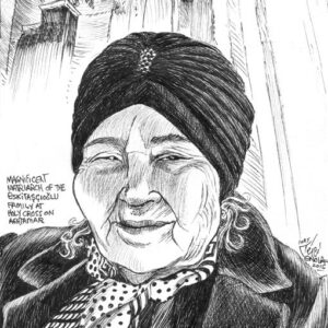 Plein air drawing of a matriarch at Aghtamar