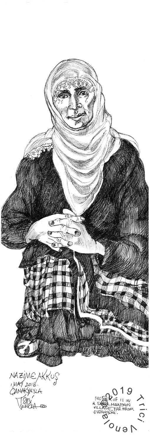 Plein air portrait of traditional Turkish woman