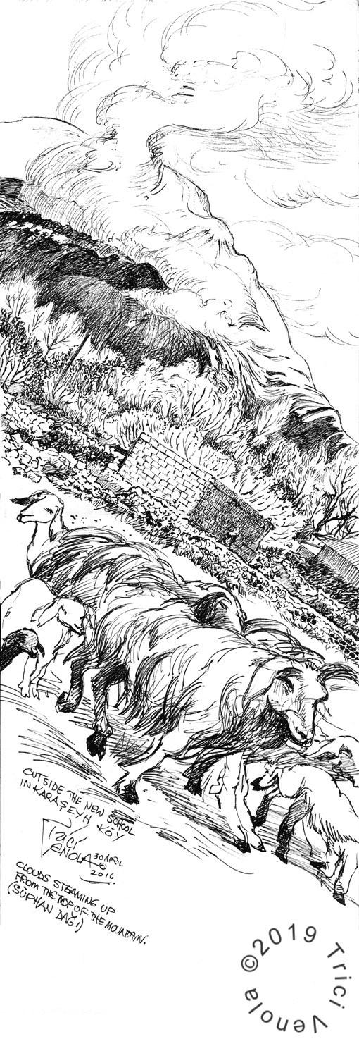 Plein air drawing of flock of sheep near Turkish village
