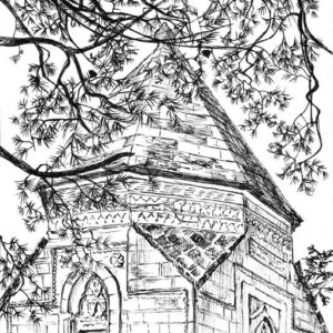 Plein air drawing of a shrine at Ahlat