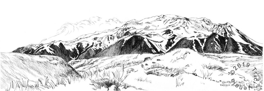 Plein air drawing of Suphan Mountain in Eastern Turkey