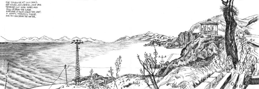 Plein air drawing of Eastern Turkish landscape with teahouse