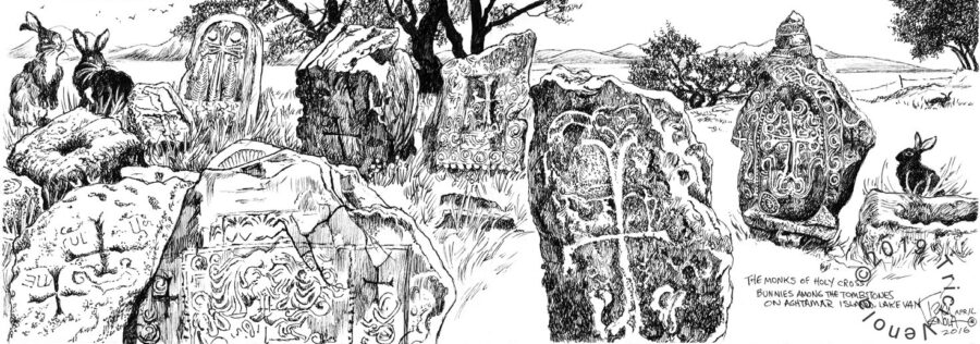 Plein air drawing of tombstones in Aghtamar