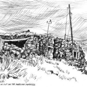 Plein air drawing of old ruined house