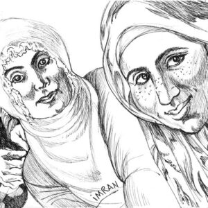 Plein air drawing of traditional Turkish women