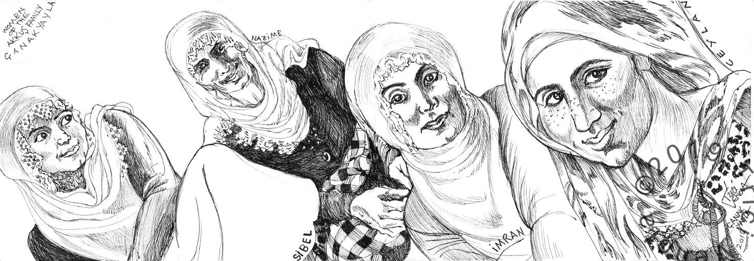 Plein air drawing of traditional Turkish women