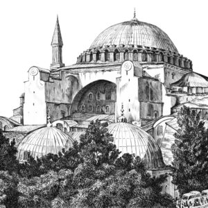Plein air drawing of Hagia Sophia